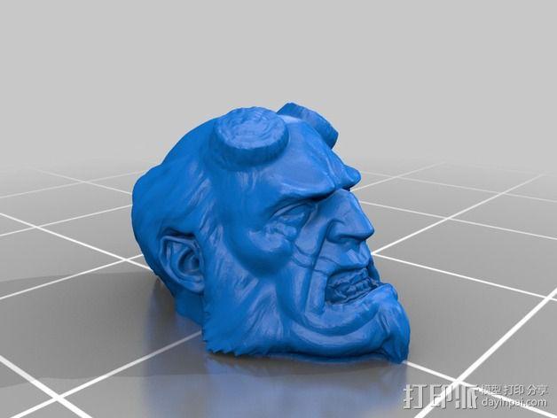 地狱男爵 头像雕塑 3D模型  图2