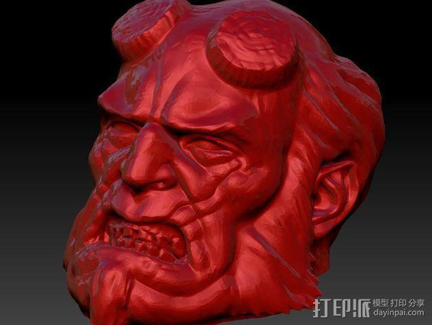 地狱男爵 头像雕塑 3D模型  图3