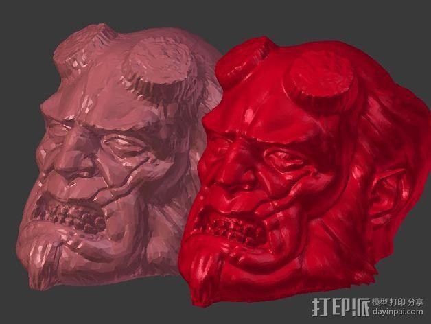 地狱男爵 头像雕塑 3D模型  图4