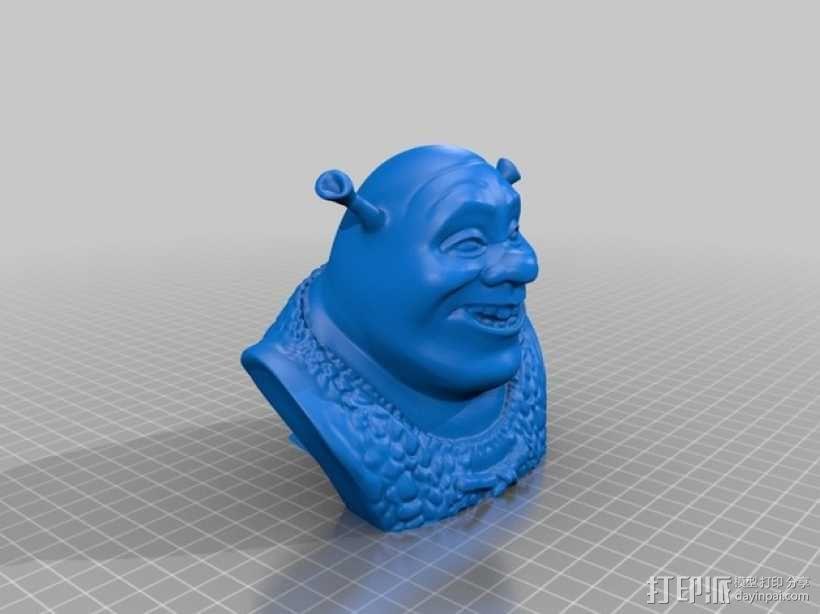 怪物史莱克 头像雕塑 3D模型  图3