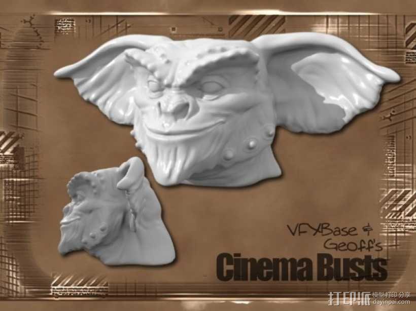 小鬼Gremlin头像雕塑 3D模型  图1