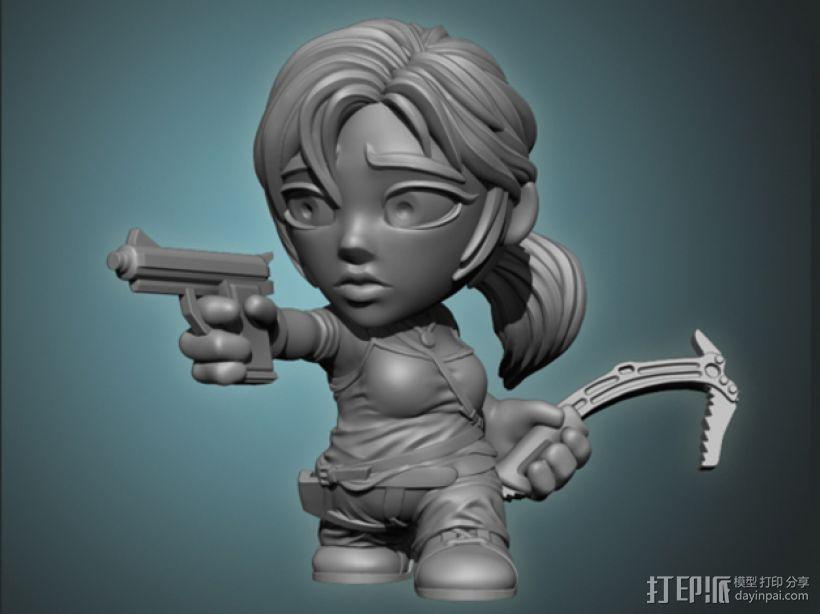 女杀手Lara小雕像 3D模型  图1