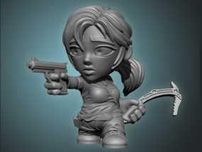 女杀手Lara小雕像 3D模型