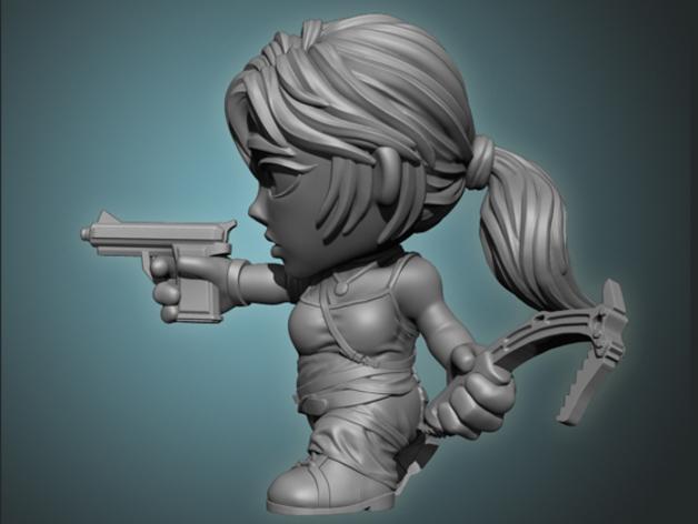 女杀手Lara小雕像 3D模型  图2