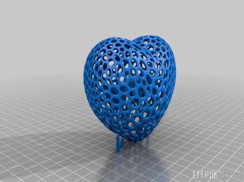 泰森多边形镂空桃心体 3D模型  图2