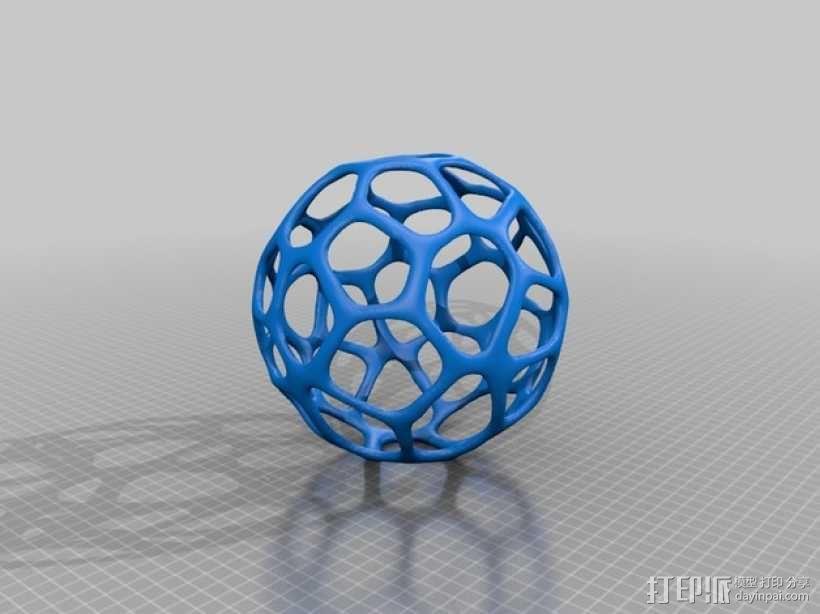 泰森多边形镂空球体 3D模型  图2