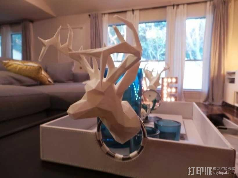 低面数 鹿头 3D模型  图2