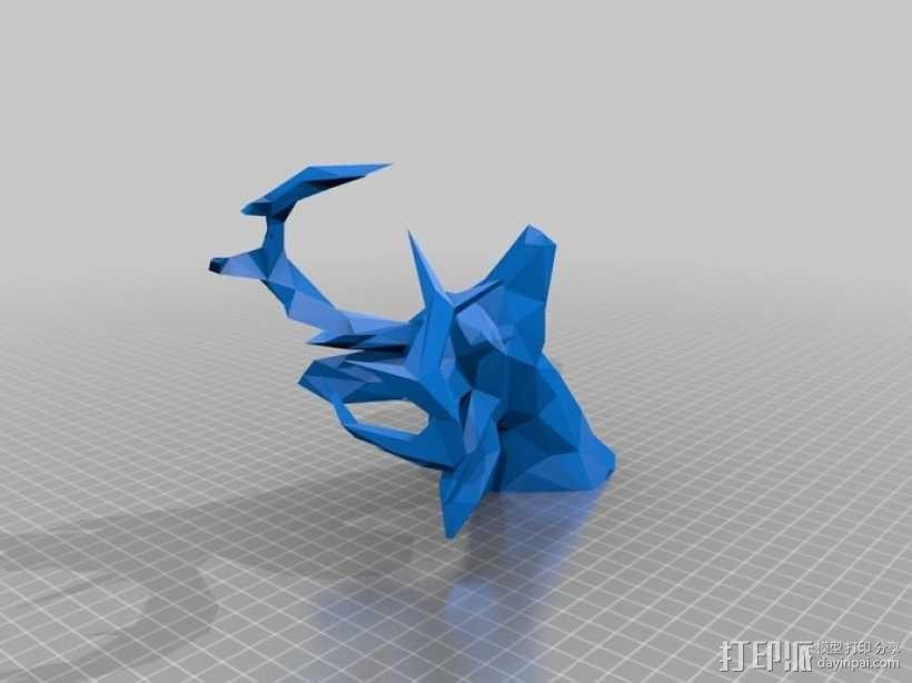 低面数 鹿头 3D模型  图6