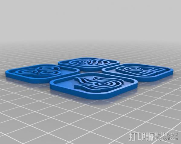 水 地球 火 空气 标志 3D模型  图2