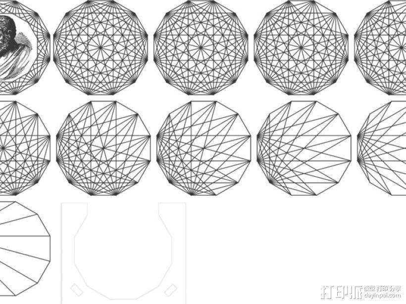 欧几里得头像杯垫 3D模型  图1