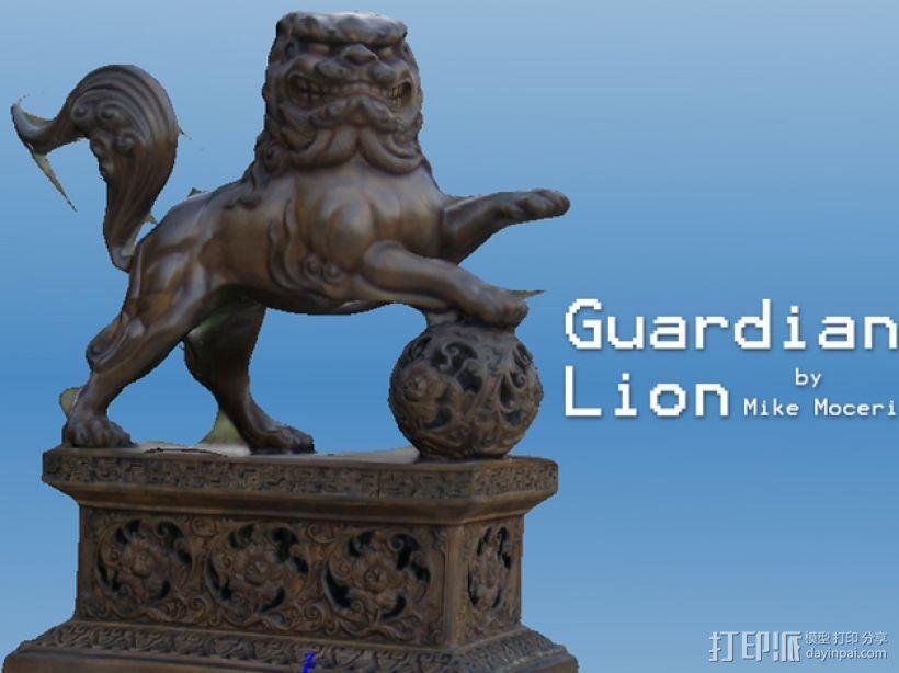 石狮子 雕塑模型 3D模型  图1