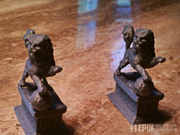 石狮子 雕塑模型 3D模型  图3