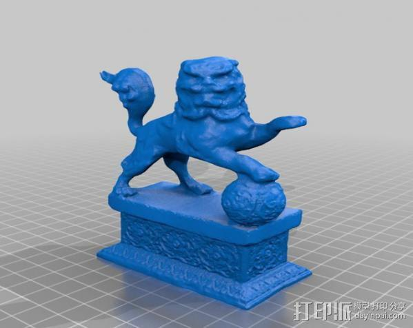 石狮子 雕塑模型 3D模型  图4