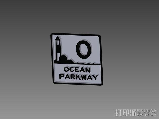 Ocean Parkway海洋公园大道标志 3D模型  图1