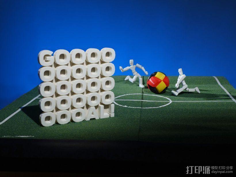 GOOOOOOOOOOOOOOOOOOOOOAL!字母雕塑 3D模型  图2