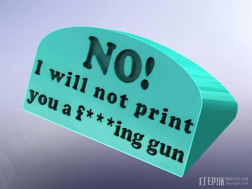 guns are bad标签 3D模型  图1