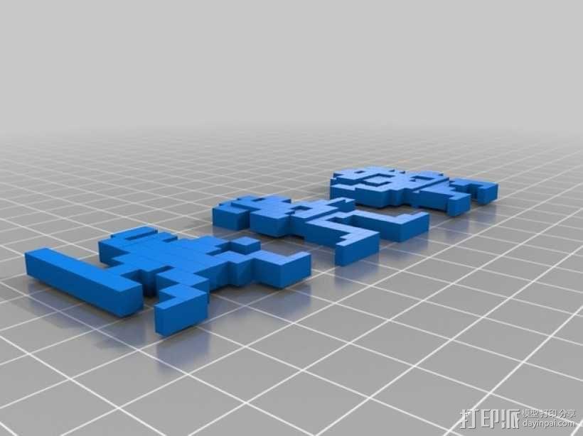 李小龙 像素模型 3D模型  图2
