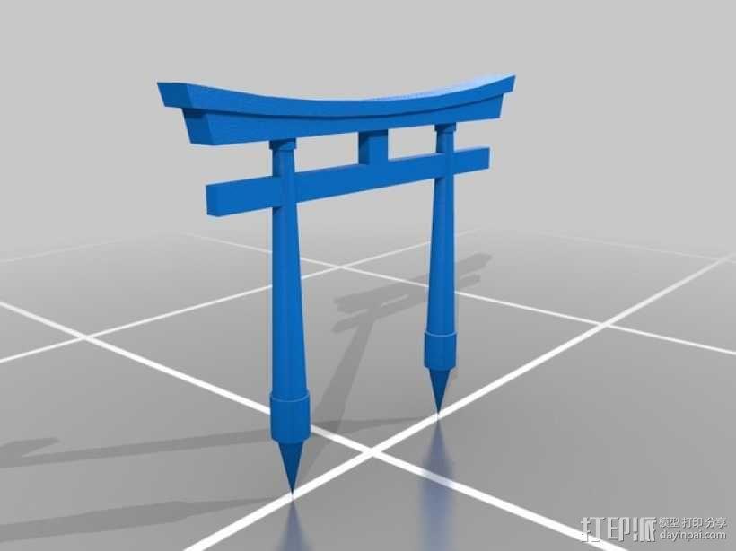 日本式大门 3D模型  图1