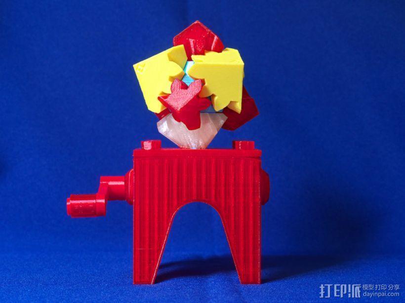 齿轮块(带手动曲柄) 3D模型  图1
