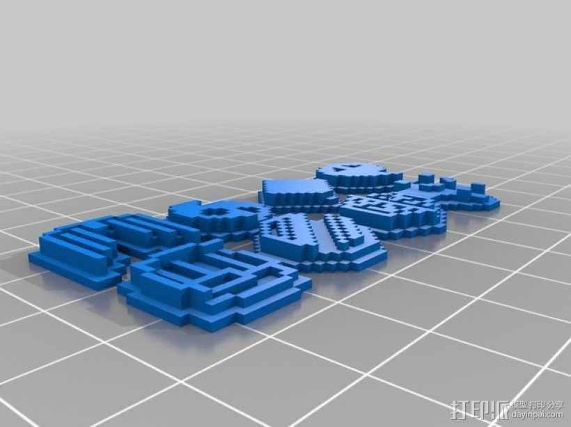 《口袋妖怪-水晶》中Johto的徽章 3D模型  图1