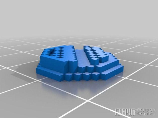 《口袋妖怪-水晶》中Johto的徽章 3D模型  图4