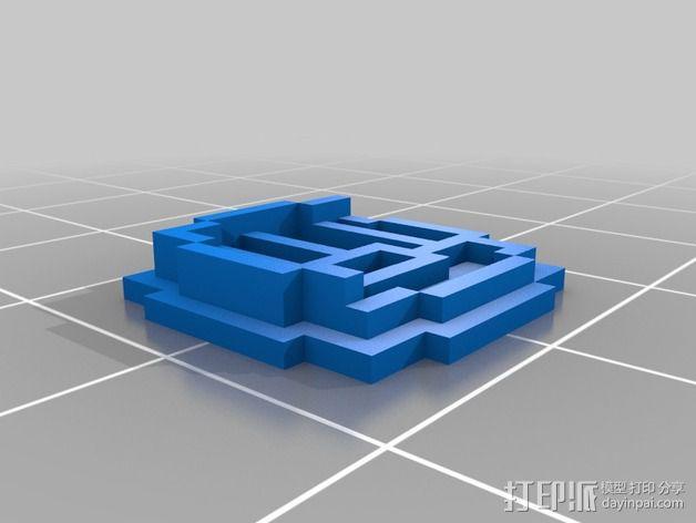 《口袋妖怪-水晶》中Johto的徽章 3D模型  图5