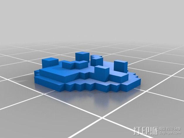 《口袋妖怪-水晶》中Johto的徽章 3D模型  图7