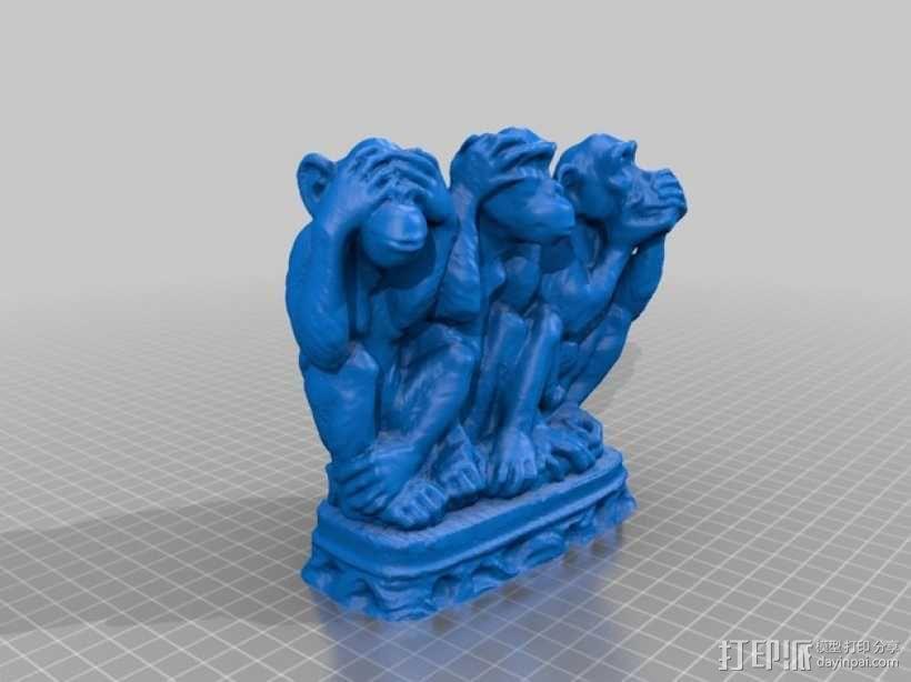 3只聪明的猴子 3D模型  图2
