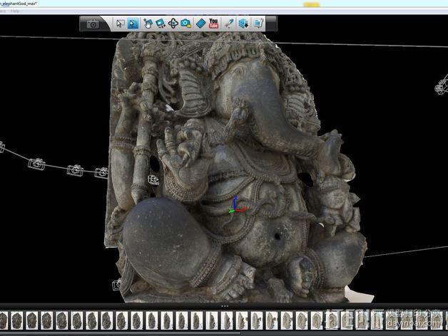 盘腿而坐的象头神 雕塑 3D模型  图2