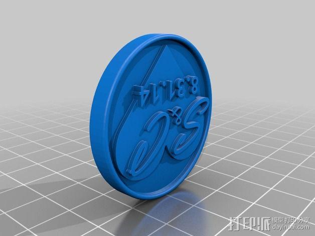婚礼用的印章硬币 3D模型  图2