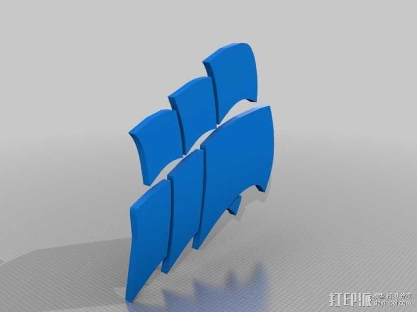海盗船 标志 3D模型  图1