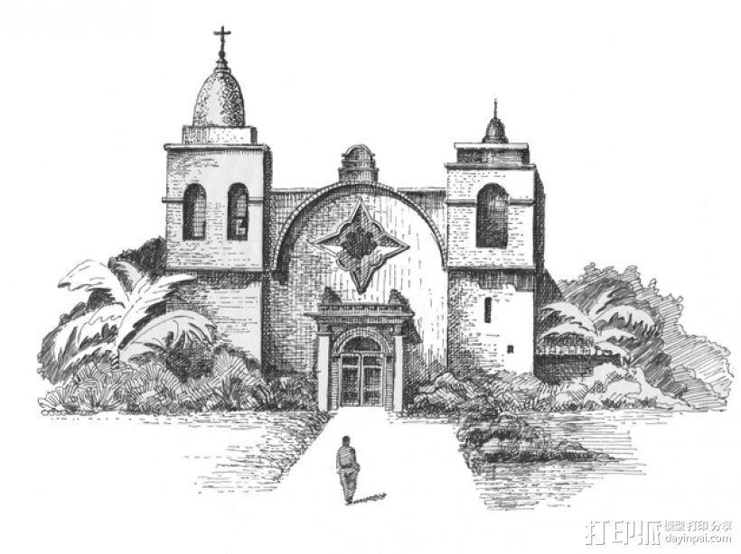 教堂石版画 3D模型  图1