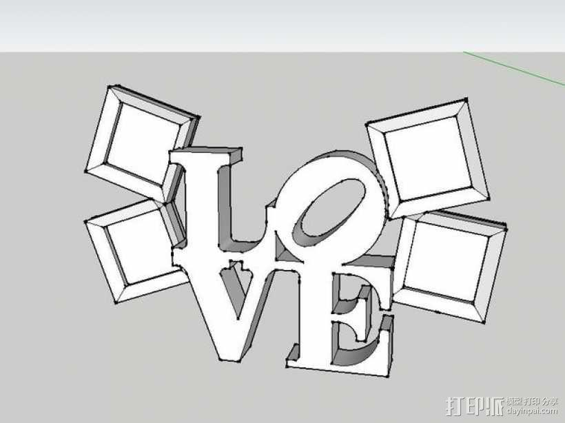 LOVE相框 3D模型  图1