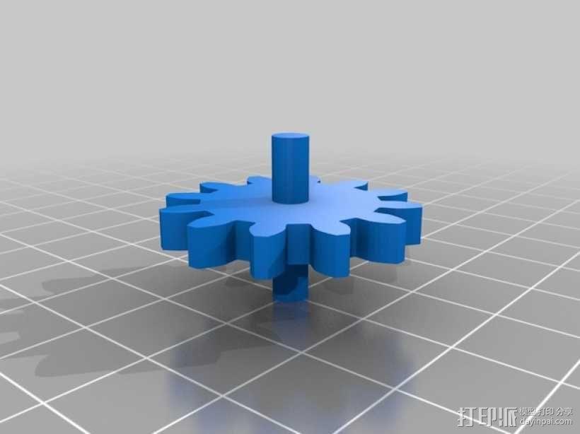 齿轮心盒子 拇指驱动器 3D模型  图3