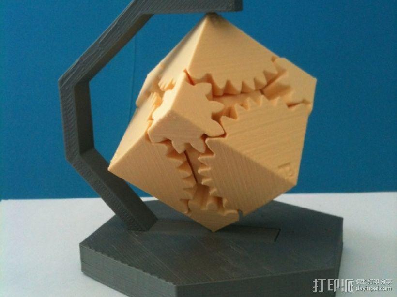 齿轮方块座架 3D模型  图1