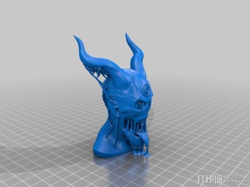恶魔骑士半身像 3D模型  图2