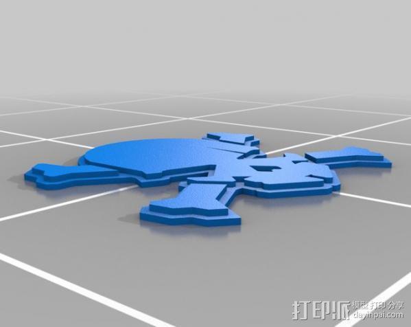 头骨和十字骨架 3D模型  图3