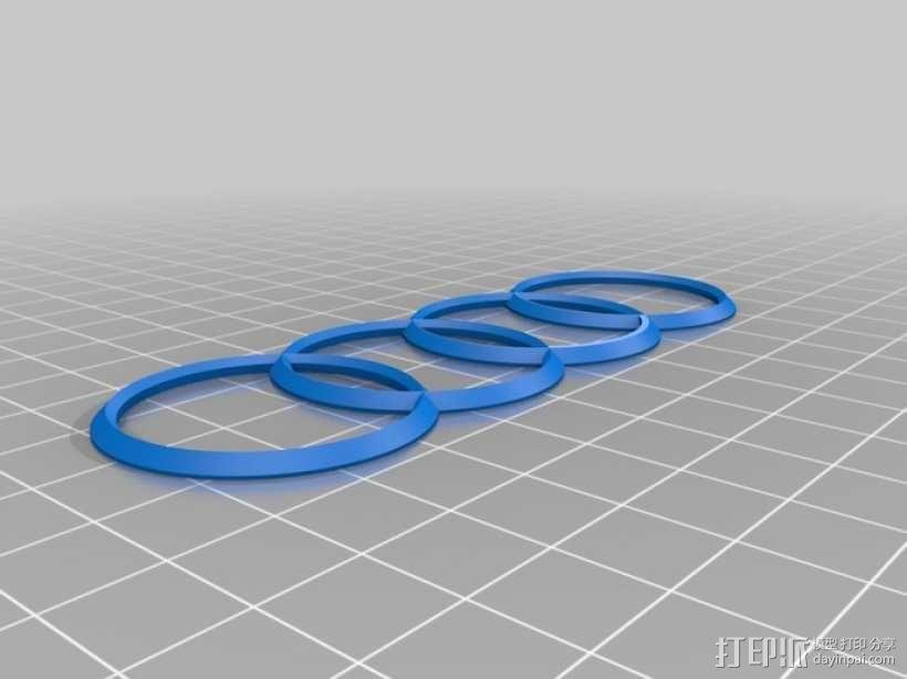 奥迪标志 3D模型  图2