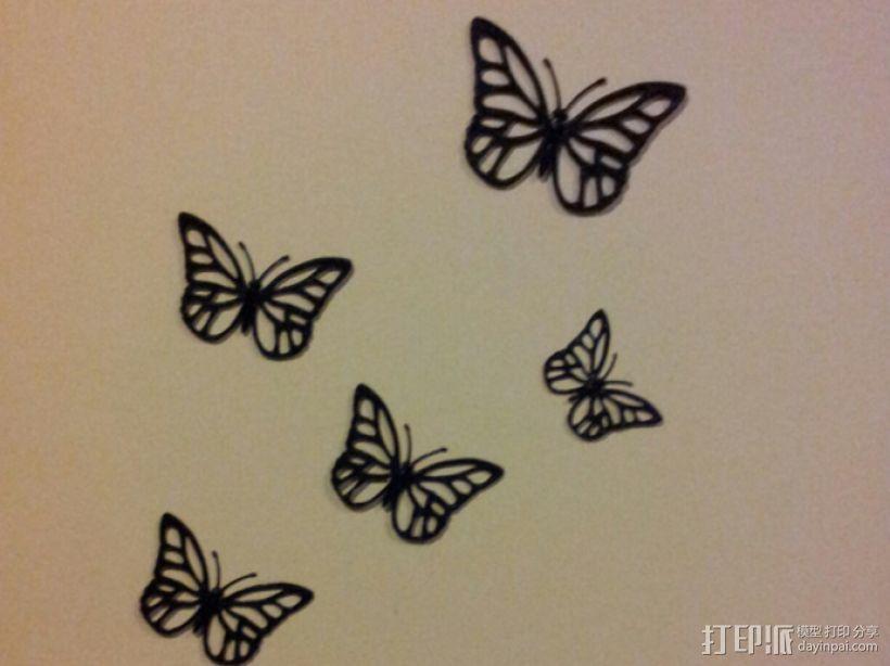 蝴蝶装饰 墙贴 3D模型  图2