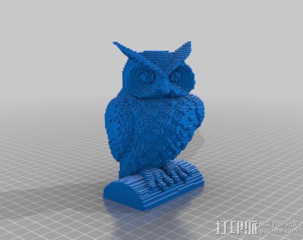 像素化猫头鹰 3D模型  图3