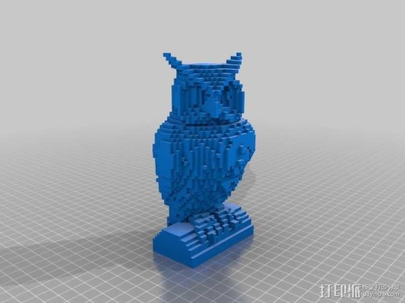 像素化猫头鹰 3D模型  图1