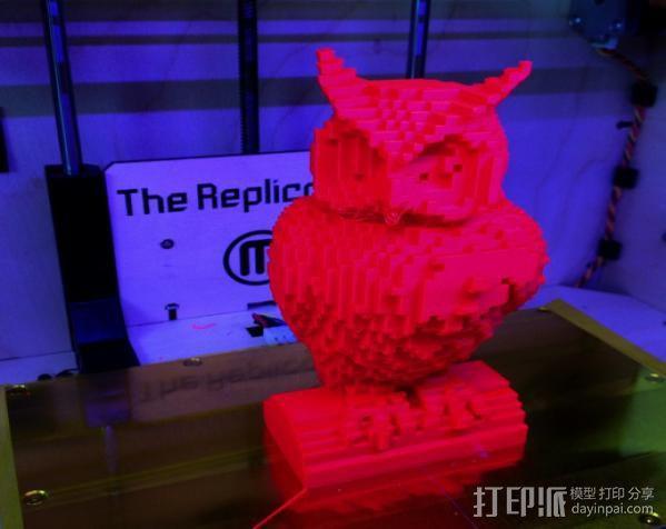 像素化猫头鹰 3D模型  图2