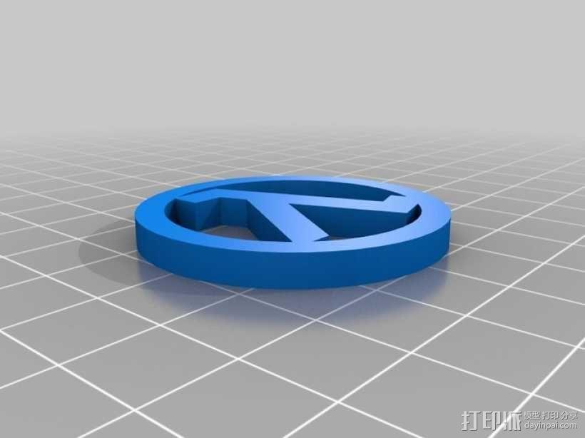 Lambda兰母达硬币徽章 3D模型  图1
