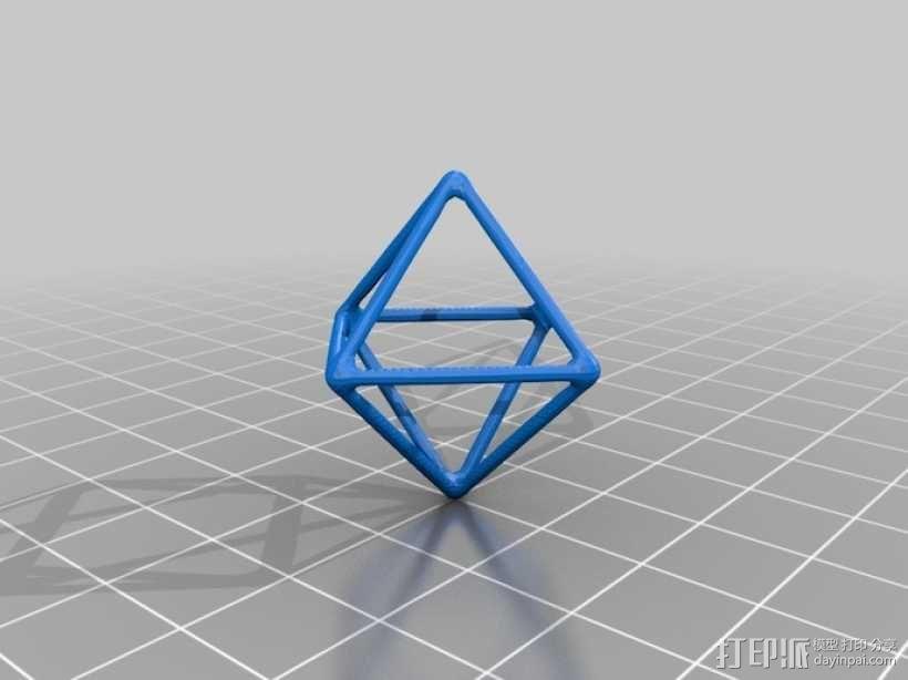 线框钻石模型 3D模型  图1