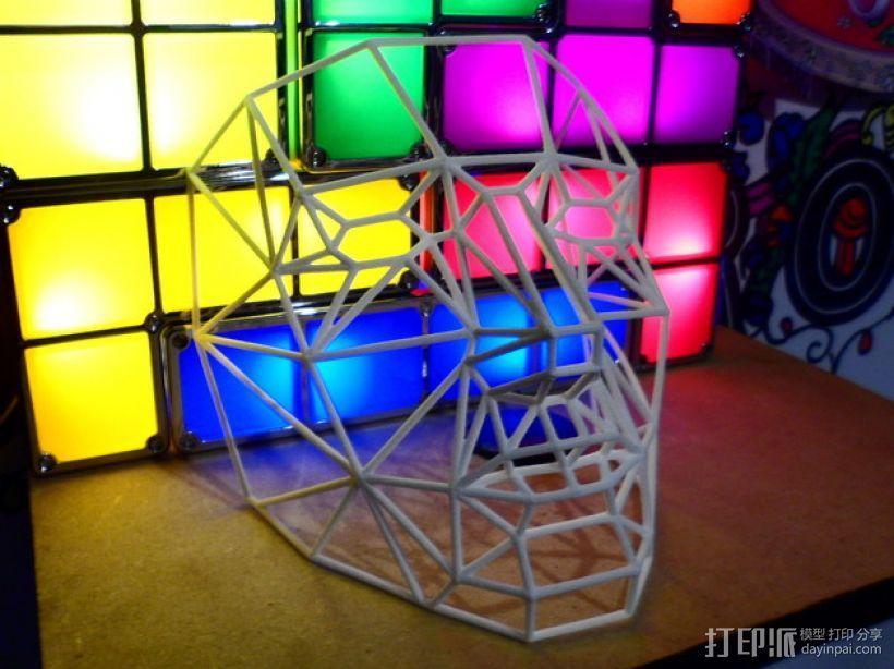 线框式低面数面具 3D模型  图1