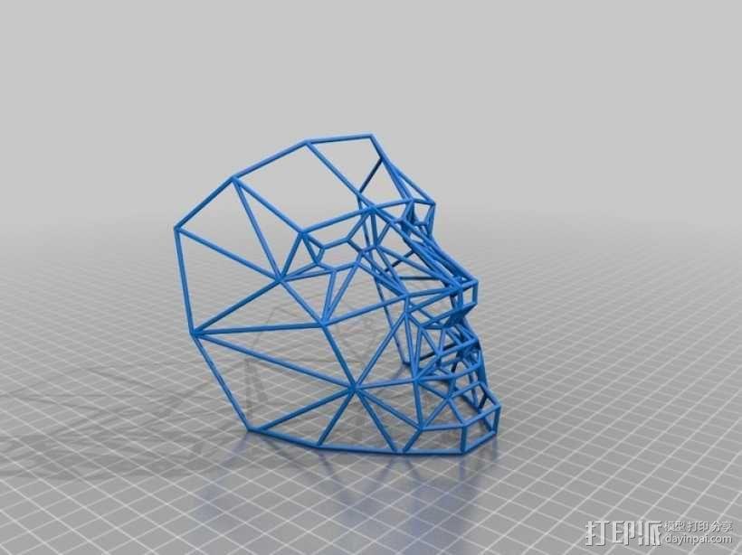 线框式低面数面具 3D模型  图2