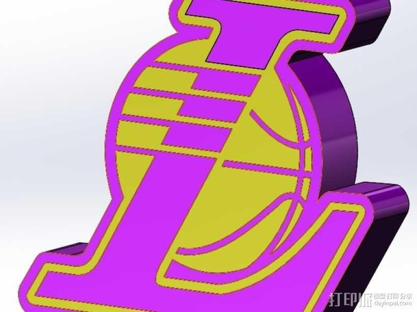 洛杉矶湖人队 标志 3D模型  图1