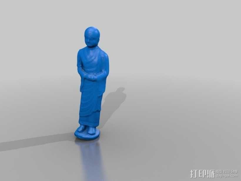 小和尚阿南达雕塑 3D模型  图1