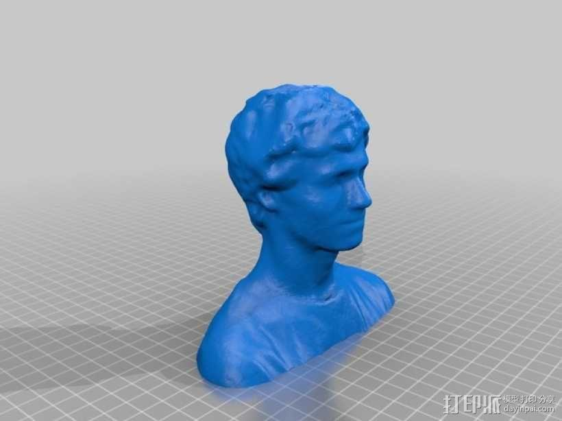 Lee 半身像雕塑 3D模型  图1