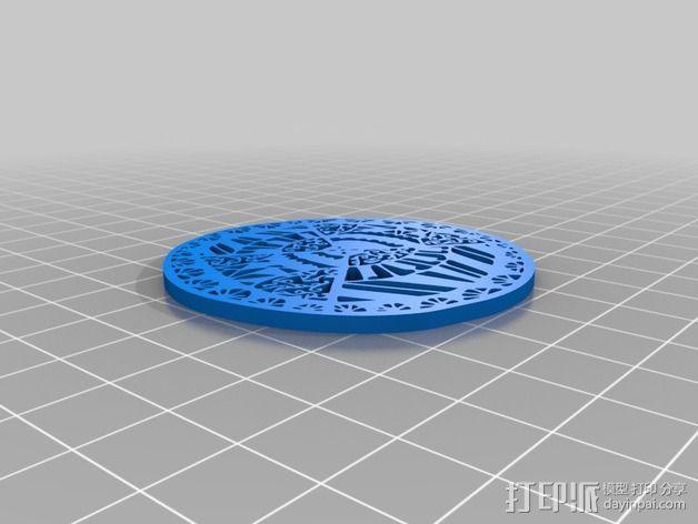 圆花窗吊坠 3D模型  图2